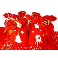 Adventskalender Säckchen aus Stoff Stoffsäckchen zum Befüllen - 24 Stoffbeutel Säckchen rot weiß Bild 1