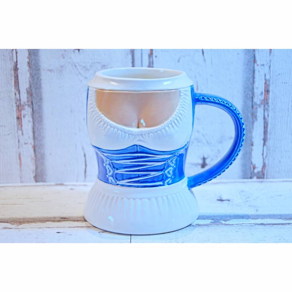 Bierkrug Dirndl, blau,500ml, Keramik, handbemalt Bild 1
