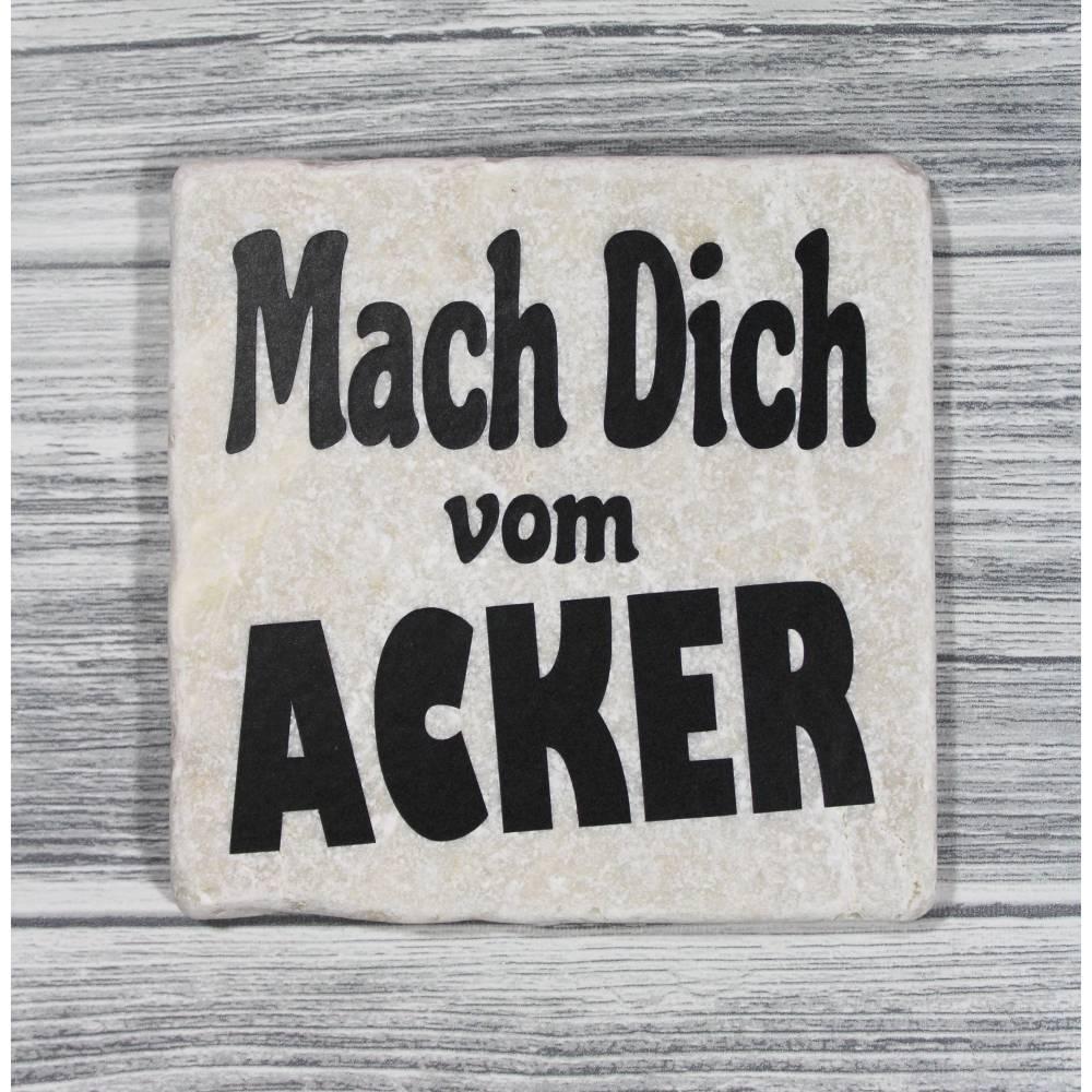 Fliese Deko Dekofliese Bild 'Mach Dich vom Acker'  Vintage Look 10x10cm Statement Frech Bild 1