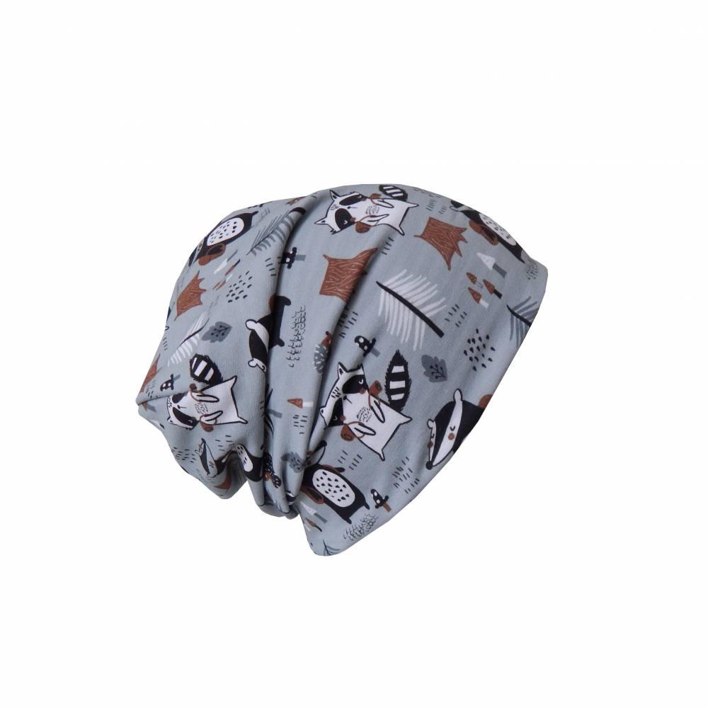 Wendebeanie, Beanie zum wenden Woodland / Streifen grau schwarz Bild 1
