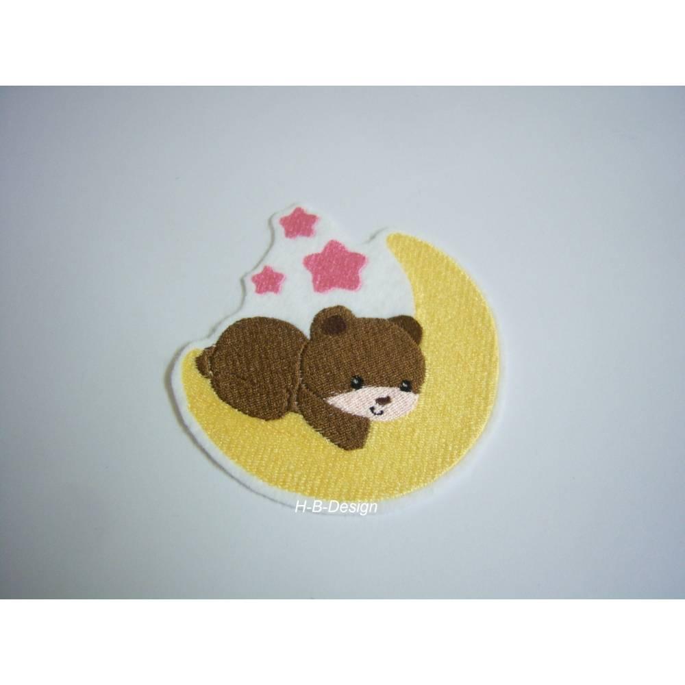 Applikation Teddy auf Mond auf weißen Filz gestickt, zum aufbügeln Bild 1
