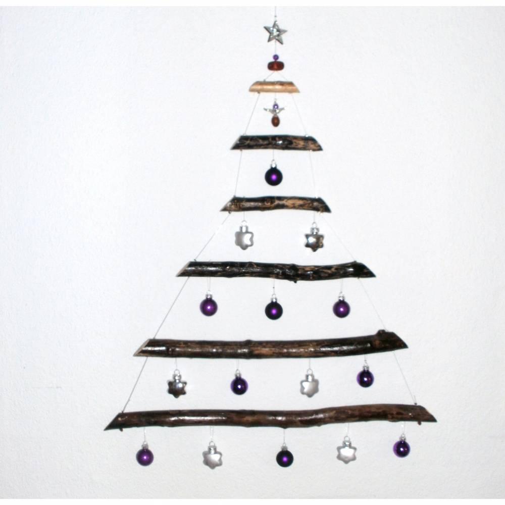 Weihnachtsbaum aus Treibholz mit Glaskugeln und Engel Adventsschmuck  Bild 1