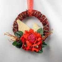 Türkranz, Herbstdeko, mit großer Blüte, rot Bild 1