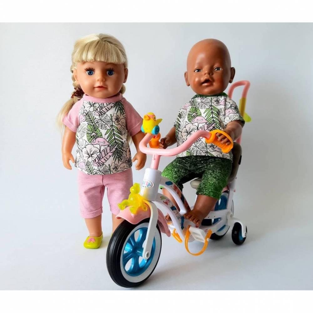 Set T-Shirt und Leggings für Puppen mit Flamingo Motiv, Zauberstoff ändert die Farbe in der Sonne, Gr. 40-43 cm Bild 1