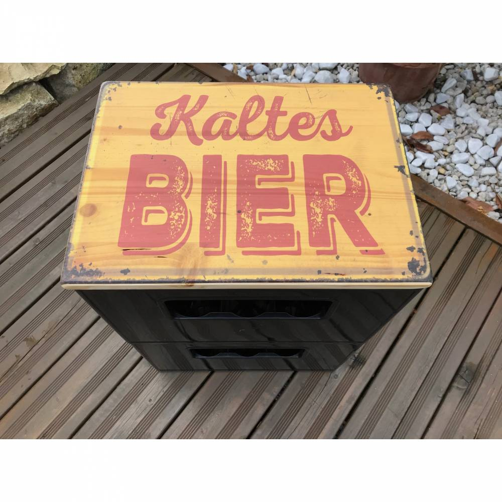 "Bierkastensitz Motiv ""Kaltes Bier"" Bierkastenaufsatz Holz Vintage-Handmade Bild 1"