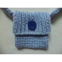 kleine Tasche mini micro bag Handtasche gestrickt 11cm x 11cm hellblau Bild 1