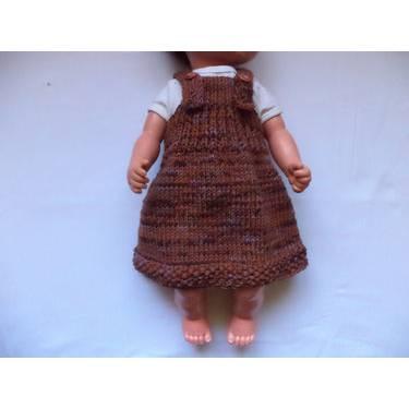 Babykleid Hängerchen Trägerkleid gestrickt Merino Wolle braun lila Bild 1