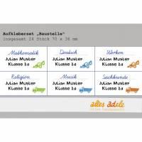 Heftaufkleber für die Schule mit Namen 24 Stk. - Baufahrzeuge | Personalisiert Bild 1