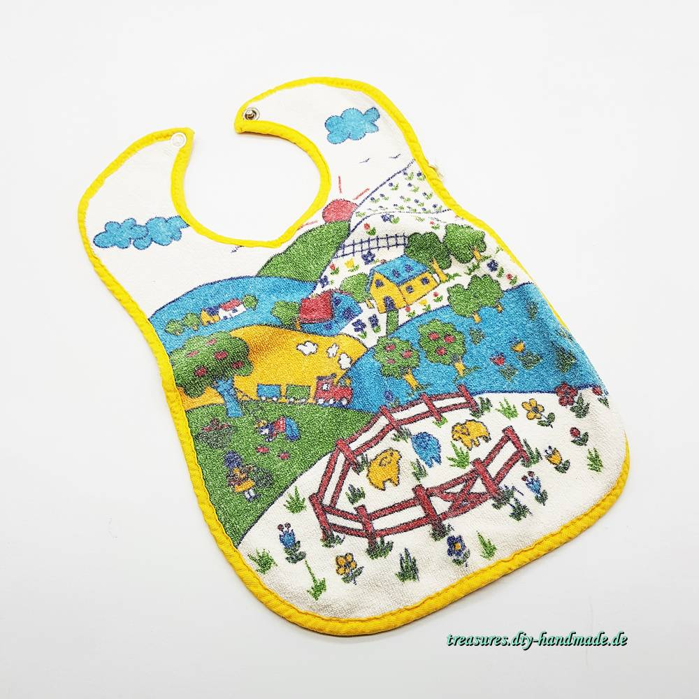Baby Lätzchen Motiv Bauernhof, Spuckschutz, reine Baumwolle, Vintage, original 1982  Bild 1