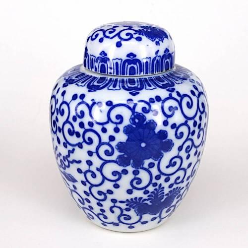 Vintage 50er Jahre Teedose, Deckeldose Nippon Tokusei weiß mit blauem Muster