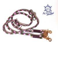 Hundeleine verstellbar oliv beere rosa weiß AlsterStruppi Wunschlänge Bild 1