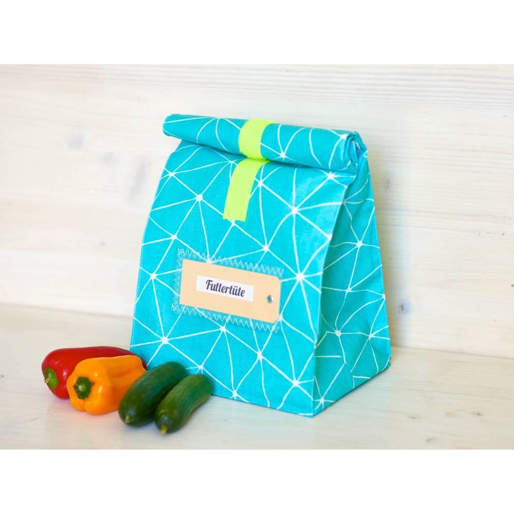 Lunchbox, Lunchbag, türkis, graphisches muster, beschichtete baumwolle Bild 1