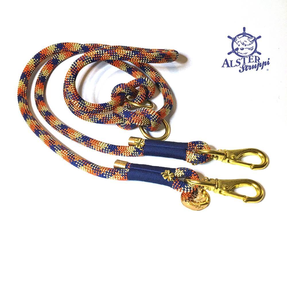 Hundeleine verstellbar blau rotorange goldbeige AlsterStruppi Wunschlänge Bild 1