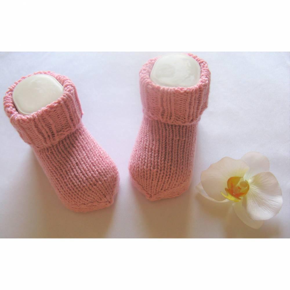 Erstlings - Baby Söckchen - handgestrickt   rosefarben Bild 1