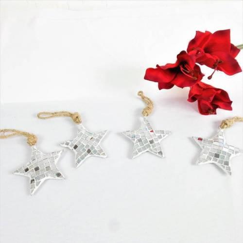 Weihnachtsdeko Stern, silber, 4er Set, Stückpreis 2€,  Floristikbedarf