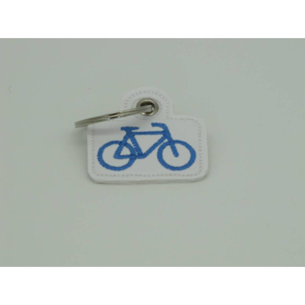 Schlüsselanhänger, Fahrrad, Kunstleder bestickt Bild 1