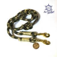 Hundeleine verstellbar oliv braun gold AlsterStruppi Wunschlänge Bild 1