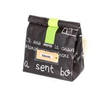 Lunchbag groß/ Brotbeutel/ schwarz/ weiß/ Tafelstoff/ beschichtete Baumwolle/ mit Innenfutter/ wasserabweisend Bild 1