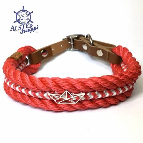 Hundehalsband verstellbar rot weiß, Boot Charming mit Leder und Schnalle