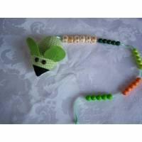 Rechenmaus, Rechenhilfe zum Schulstart mit Wunschnamen aus Buchstabenwürfel, Baumwolle Bild 1