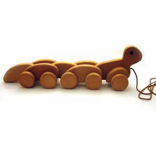 Ziehtier Raupe, Nachziehspielzeug aus Holz