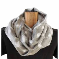Loopschal Damen warmer flauschiger Schlauchschal Shannon Fabrics silbergrau mit Pusteblumen Rundschal kuschelweiche hochwertige Qualität  Bild 1