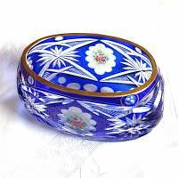 Prächtige Vintage Bleikristall Schale mit blauem Überfang Bild 1