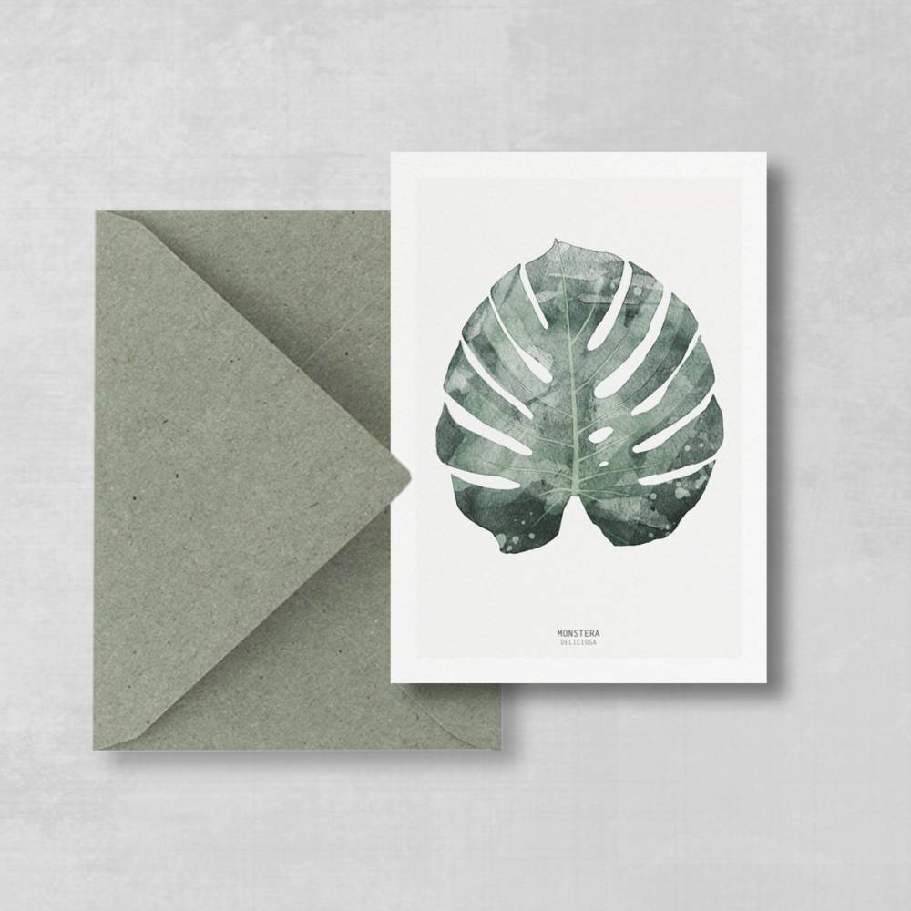 Postkarte Monstera Blatt, botanische Postkarte Bild 1