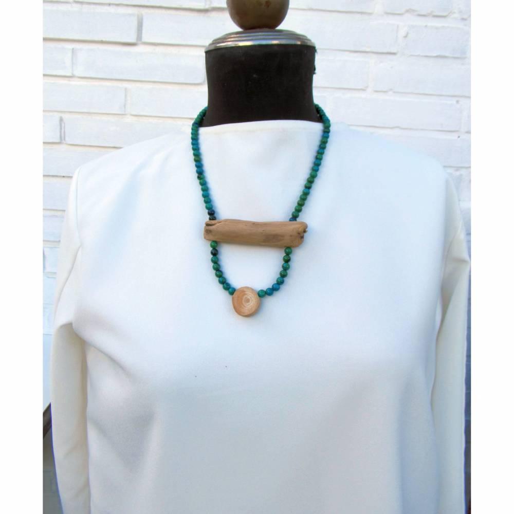 Geschenkidee nachhaltiger Schmuck, Treibholz Halskette mit Edelsteinen Bild 1