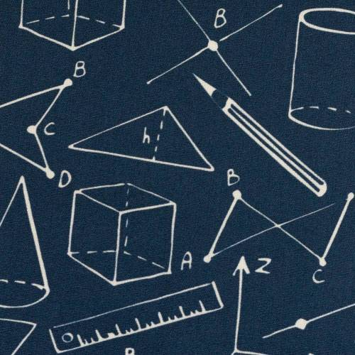 10,90EUR/m Webware Geometrie Schule Kim Baumwolle dunkelblau