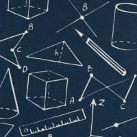 10,90EUR/m Webware Geometrie Schule Kim Baumwolle dunkelblau Bild 1