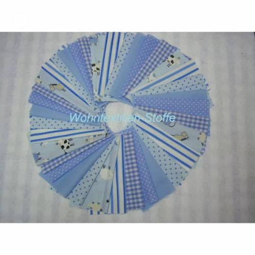 Scraps, 36 Stück in 15x15cm 6 Motive für Patchworkdecken, Punkte, Karo, Bauernhof, Streifen,