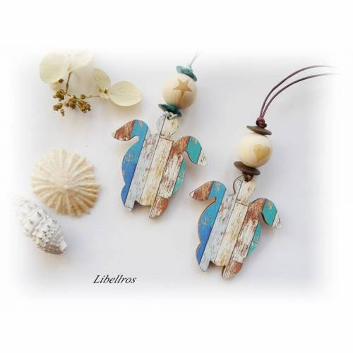 Lange Lederkette mit Holzanhänger Schildekröte in 2 Farbmotiven nach Wahl - Holzperle - maritim,sportlich,liebevoll - bunt,natur