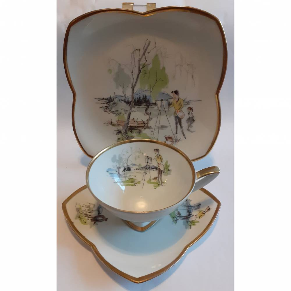 Vintage Gedeck für Tee / Kaffee, Sammelgedeck, Alka Bavaria, Gold Idyll 50 er Bild 1