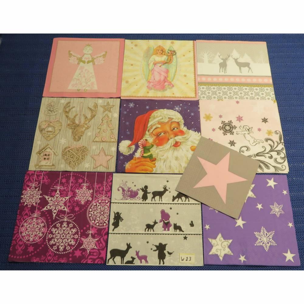 Servietten Set Weihnachtsmotive rosa-lila 10 Motivservietten Mix 23 Bild 1