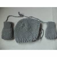 Set Babymütze Fäustlinge gestrickt KU 31-34cm reine Wolle Merino Anfertigung Bild 1