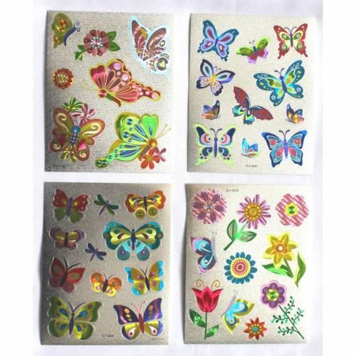 Stickerbogen Metallic Sticker Glitzer mit Schmetterlinge Blumen