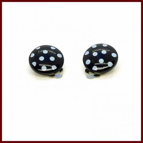 "Ohrclips ""Polka Dots"" Cabochon,  20mm rot/schwarz/pink/rosa mit weißen Punkten, versilbert"