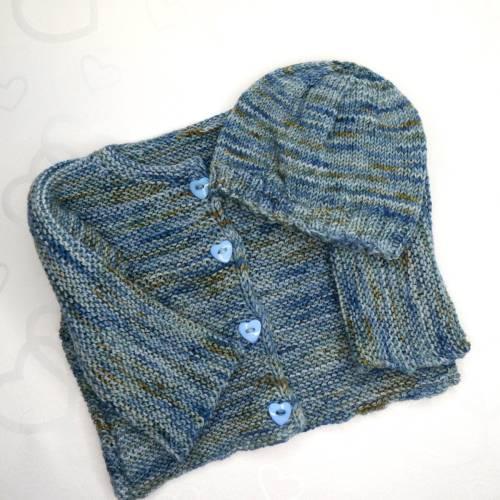 Babyjacke mit Mützchen gestrickt Größe 62/68 Handgefärbte Wolle Verschiedene Blautöne/Braun