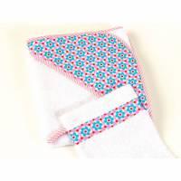 """Baby- Kapuzenhandtuch """"blaue Blümchen auf rosa"""" Frotte, mit Waschhandschuh Bild 1"""