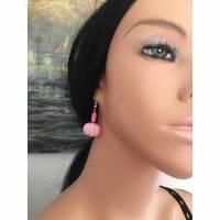 Ohrringe mit Perlen, Ohrhaken, Hänge Ohrringe, Perlen, Rosa, Schmuck, Ohrhänger Bild 1