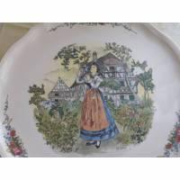 Keramikteller Kuchenteller Tortenplatte vintage Teller Vorlegeteller Obernai Landhaus  Bild 1