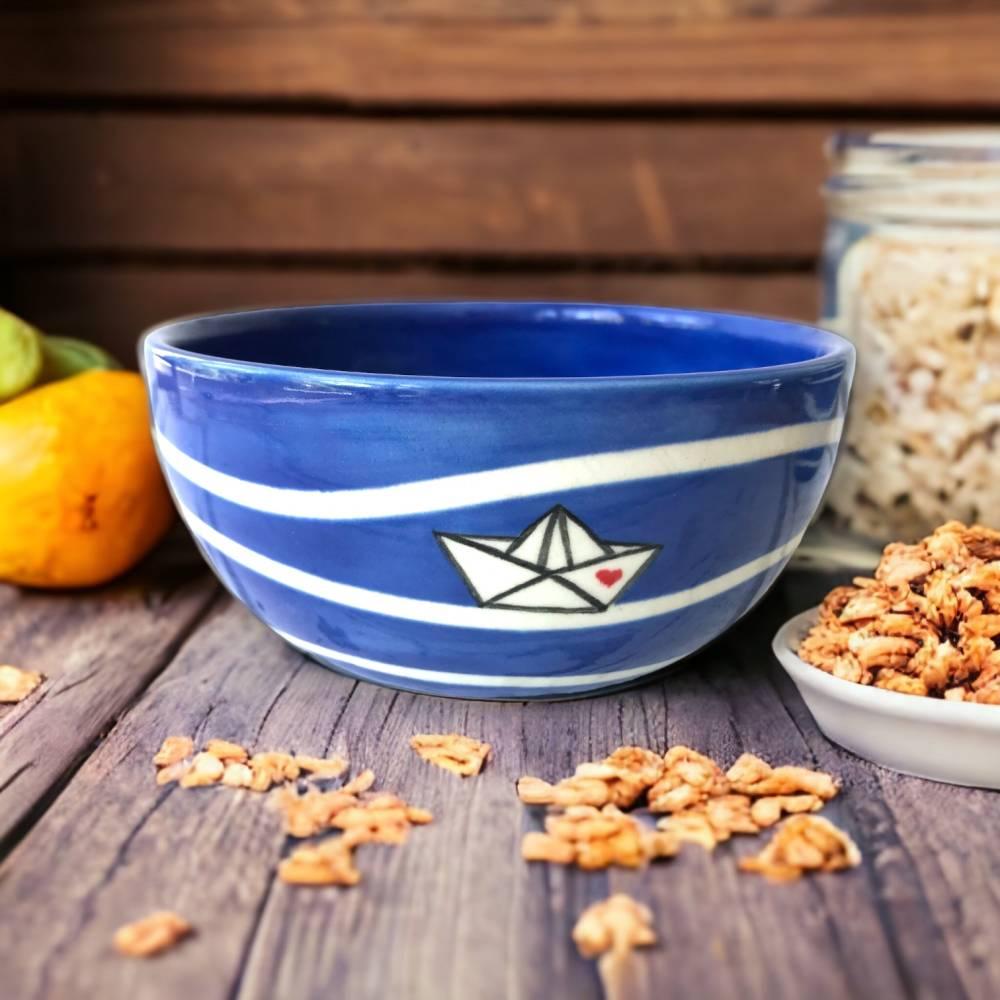 Müslischale - Schale Papierboot, 700ml, Keramik handbemalt Bild 1