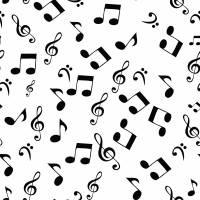 Baumwolle Baumwollstoff Popeline Notenschlüssel Noten Musik weiss Oeko-Tex Standard 100 (1m/ 9,-€)  Bild 1