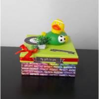 Geldgeschenk Fußball, Sport, Hobby, Quitscheente, Geburtstagsgeschenk Bild 1