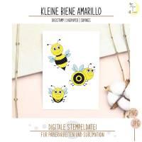 Kleine Biene Amarillo Digistamp mit Digipapieren und Sprüchen Bild 1