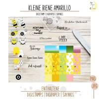 Kleine Biene Amarillo Digistamp mit Digipapieren und Sprüchen Bild 2