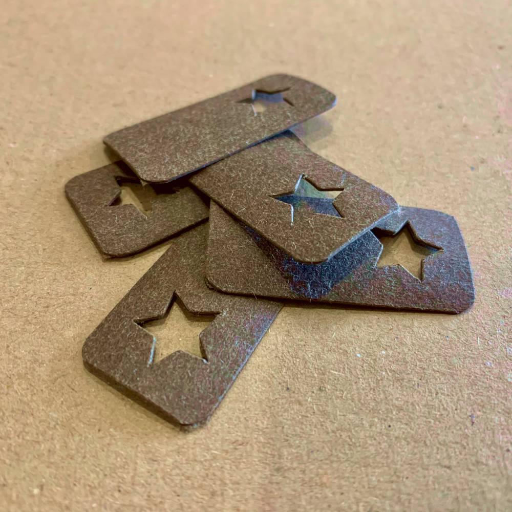 5 Stück SnapPap Label dunkelbraun Stern Bild 1