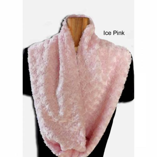 Loopschal Damen warmer flauschiger Schlauchschal Rundschal Shannon Fabrics Rose Cuddle Ice-Pink kuschelweiche hochwertige Qualität
