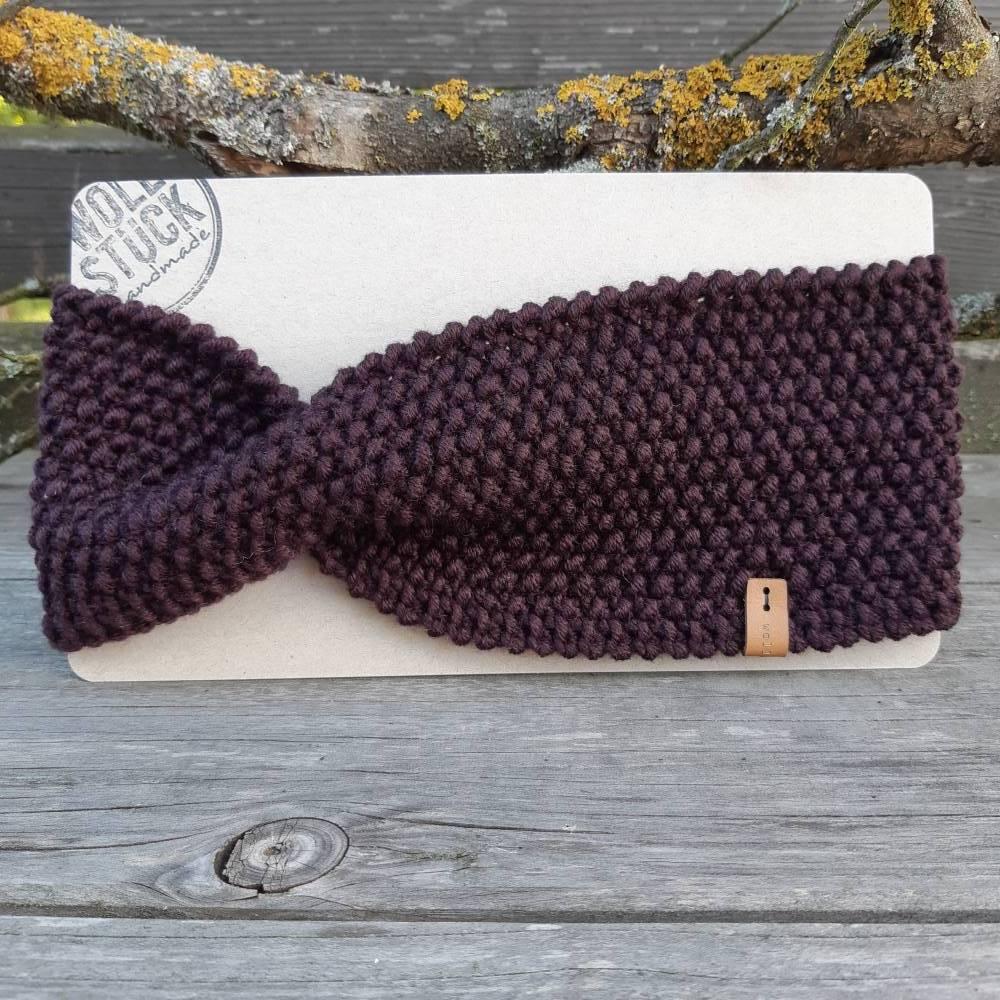 Stirnband mit Twist handgestrickt - Wolle (Merino) - aubergine Bild 1
